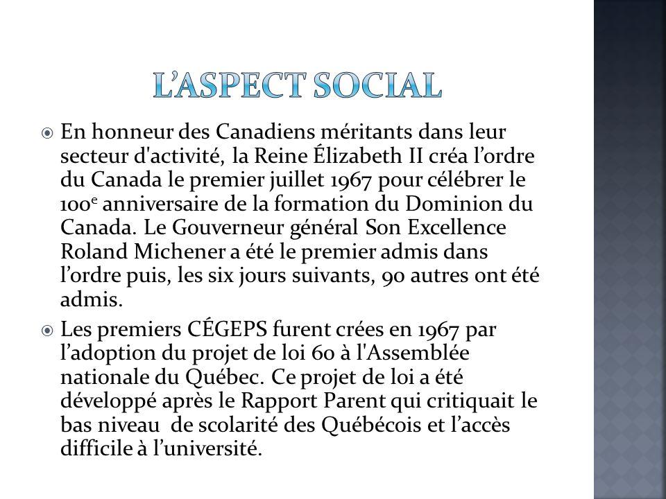  En honneur des Canadiens méritants dans leur secteur d'activité, la Reine Élizabeth II créa l'ordre du Canada le premier juillet 1967 pour célébrer