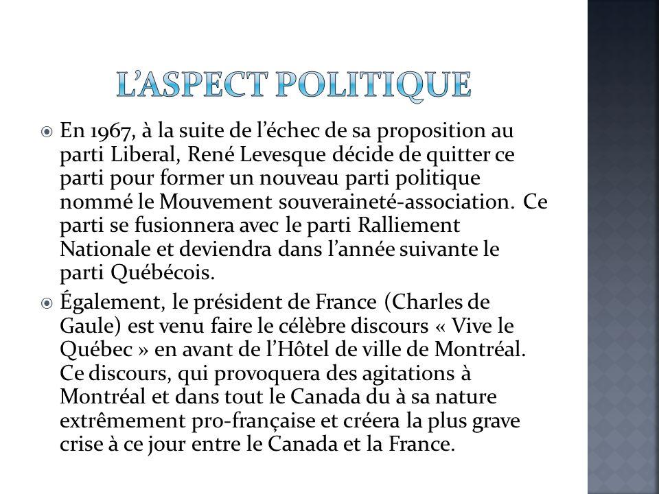  En 1967, à la suite de l'échec de sa proposition au parti Liberal, René Levesque décide de quitter ce parti pour former un nouveau parti politique nommé le Mouvement souveraineté-association.