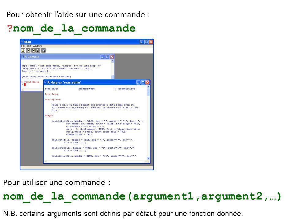 Pour obtenir l'aide sur une commande : ?nom_de_la_commande Pour utiliser une commande : nom_de_la_commande(argument1,argument2,…) N.B.