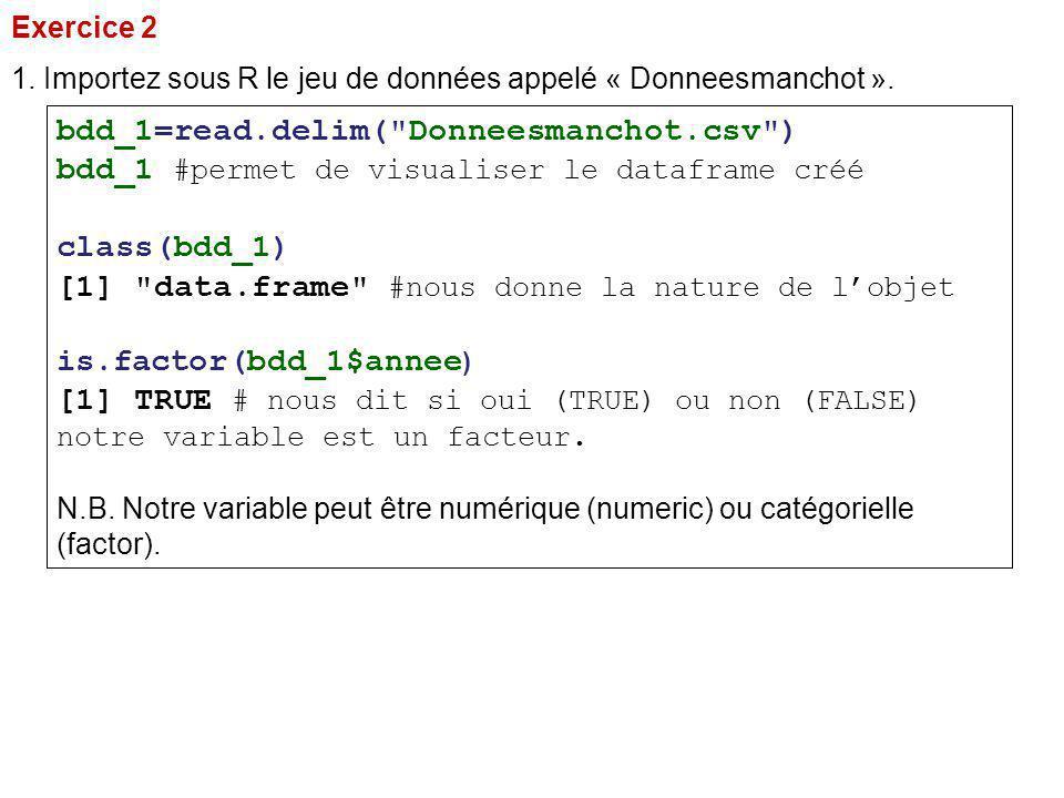 Exercice 2 1. Importez sous R le jeu de données appelé « Donneesmanchot ». bdd_1=read.delim(