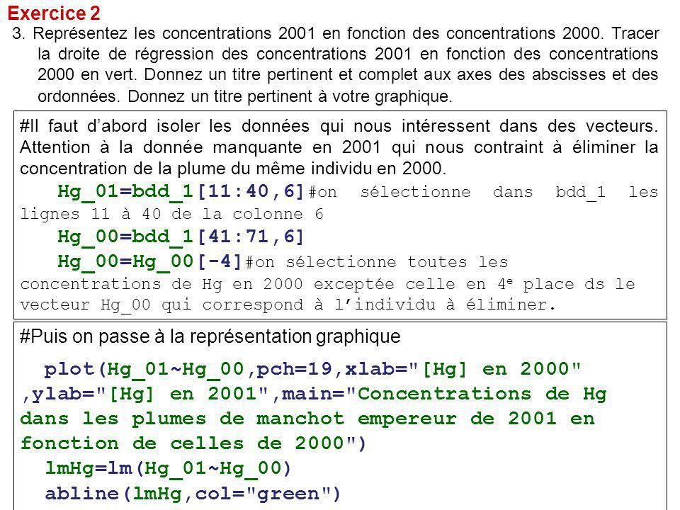 Exercice 2 #Il faut d'abord isoler les données qui nous intéressent dans des vecteurs.
