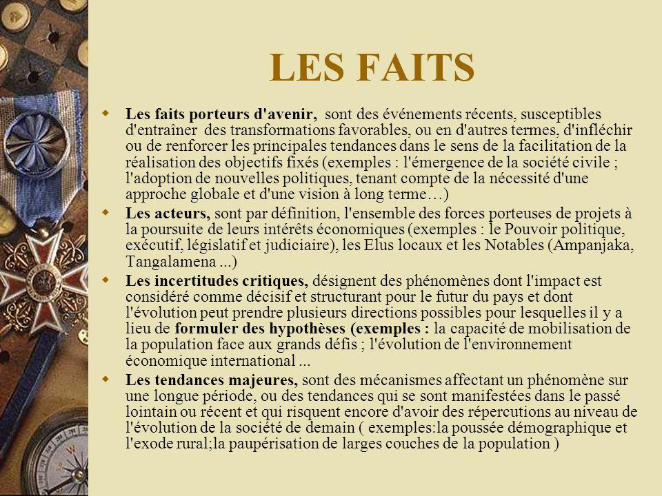 LES FAITS  Les faits porteurs d'avenir, sont des événements récents, susceptibles d'entraîner des transformations favorables, ou en d'autres termes,