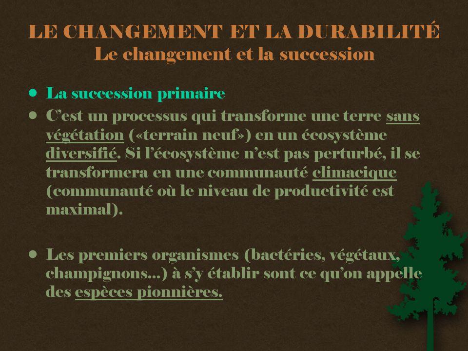 LE CHANGEMENT ET LA DURABILITÉ Le changement et la succession •La succession primaire •C'est un processus qui transforme une terre sans végétation («terrain neuf») en un écosystème diversifié.