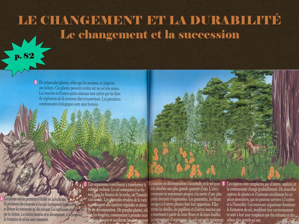 LE CHANGEMENT ET LA DURABILITÉ Le changement et la succession p. 82