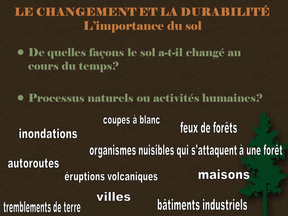 LE CHANGEMENT ET LA DURABILITÉ L'importance du sol •De quelles façons le sol a-t-il changé au cours du temps.