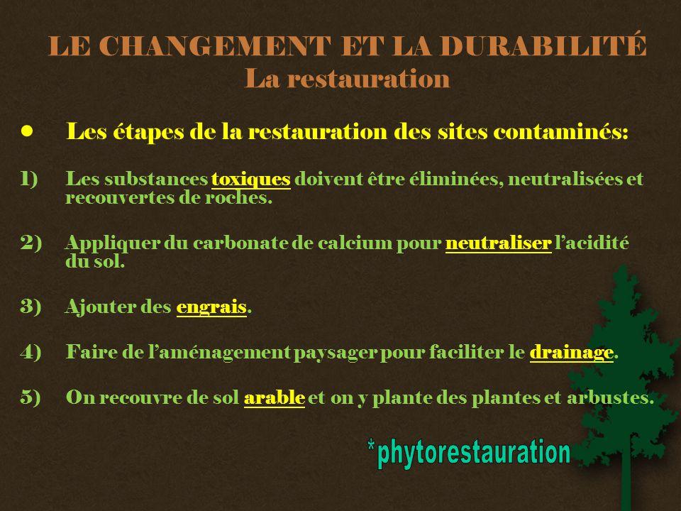 LE CHANGEMENT ET LA DURABILITÉ La restauration •Les étapes de la restauration des sites contaminés: 1) Les substances toxiques doivent être éliminées, neutralisées et recouvertes de roches.