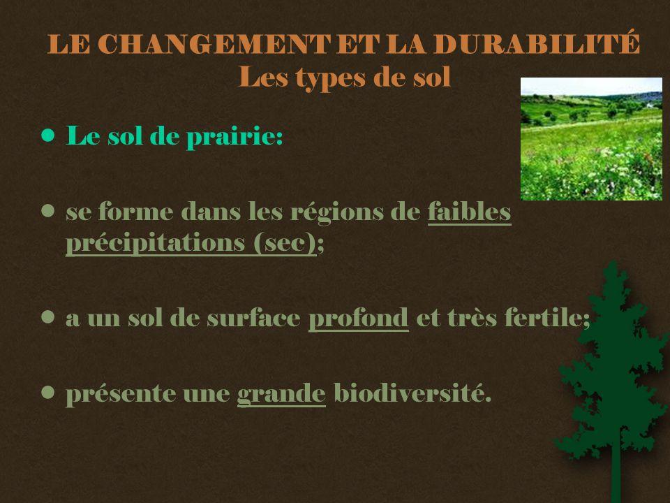 LE CHANGEMENT ET LA DURABILITÉ Les types de sol •Le sol de prairie: •se forme dans les régions de faibles précipitations (sec); •a un sol de surface profond et très fertile; •présente une grande biodiversité.