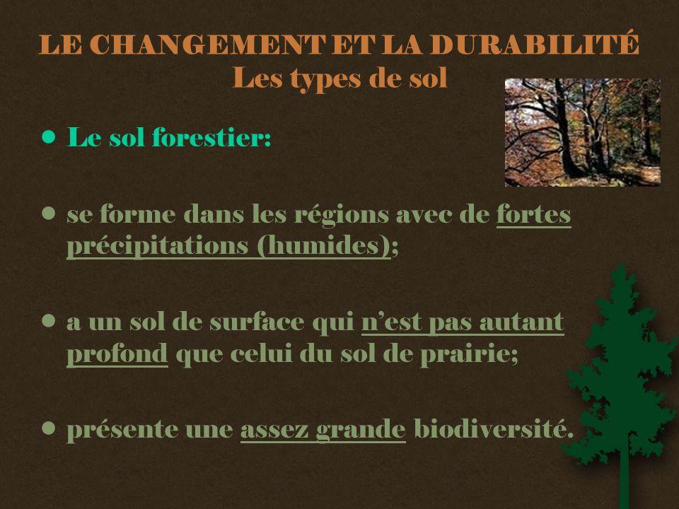 LE CHANGEMENT ET LA DURABILITÉ Les types de sol •Le sol forestier: •se forme dans les régions avec de fortes précipitations (humides); •a un sol de surface qui n'est pas autant profond que celui du sol de prairie; •présente une assez grande biodiversité.