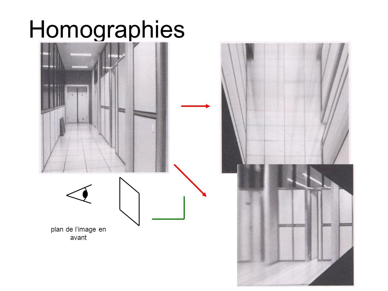 Homographies plan de l'image en avant plan de l'image en dessous