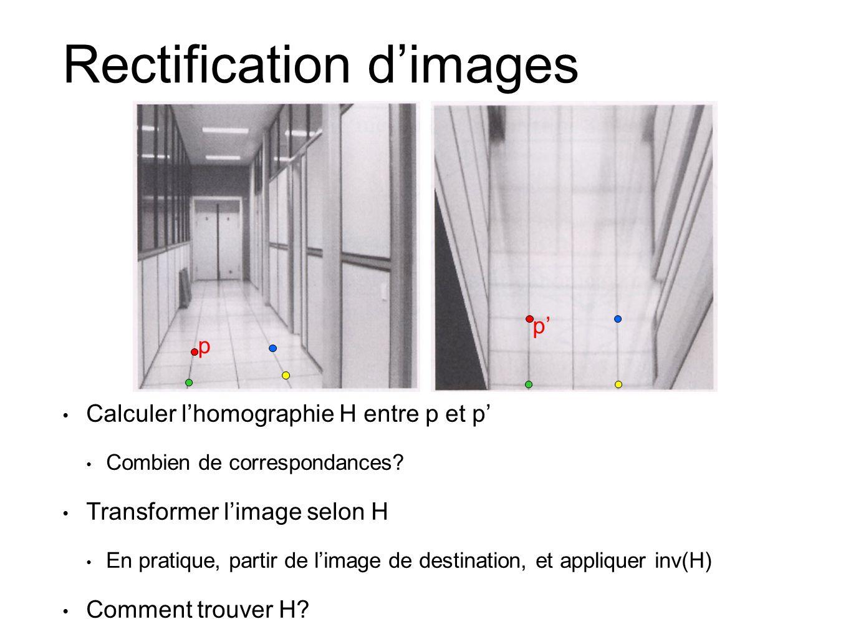 Rectification d'images • Calculer l'homographie H entre p et p' • Combien de correspondances? • Transformer l'image selon H • En pratique, partir de l