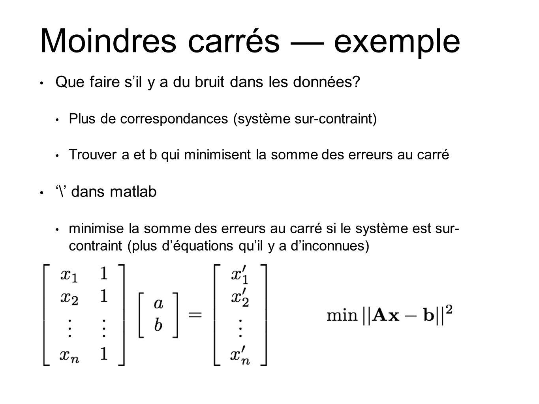 Moindres carrés — exemple • Que faire s'il y a du bruit dans les données? • Plus de correspondances (système sur-contraint) • Trouver a et b qui minim