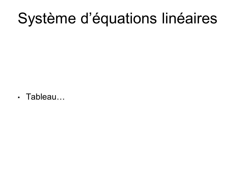 Système d'équations linéaires • Tableau…
