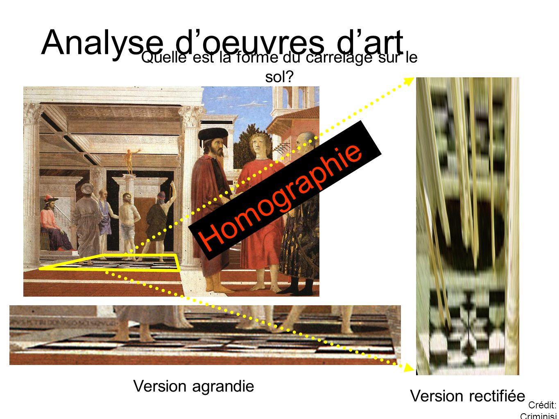 Analyse d'oeuvres d'art Version rectifiée Version agrandie Quelle est la forme du carrelage sur le sol? Crédit: Criminisi Homographie