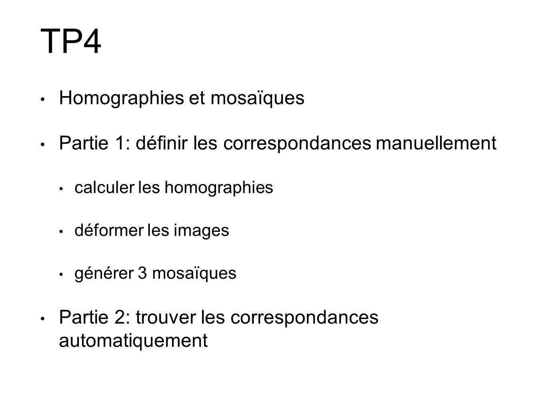 • Homographies et mosaïques • Partie 1: définir les correspondances manuellement • calculer les homographies • déformer les images • générer 3 mosaïqu
