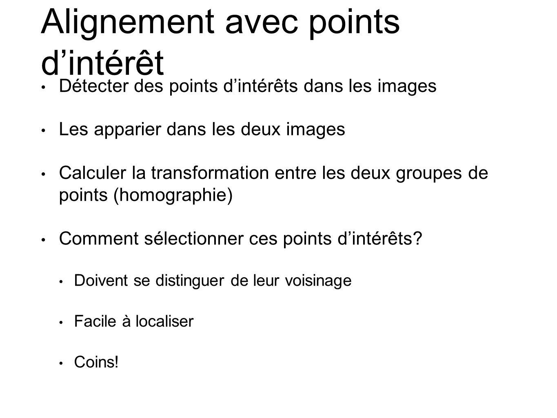 Alignement avec points d'intérêt • Détecter des points d'intérêts dans les images • Les apparier dans les deux images • Calculer la transformation ent
