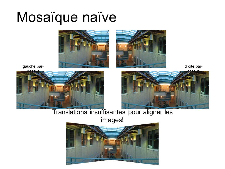 Mosaïque naïve gauche par- dessus droite par- dessus Translations insuffisantes pour aligner les images!
