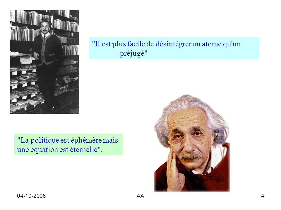 04-10-2006AA4 Il est plus facile de désintégrer un atome qu un préjugé La politique est éphémère mais une équation est éternelle .