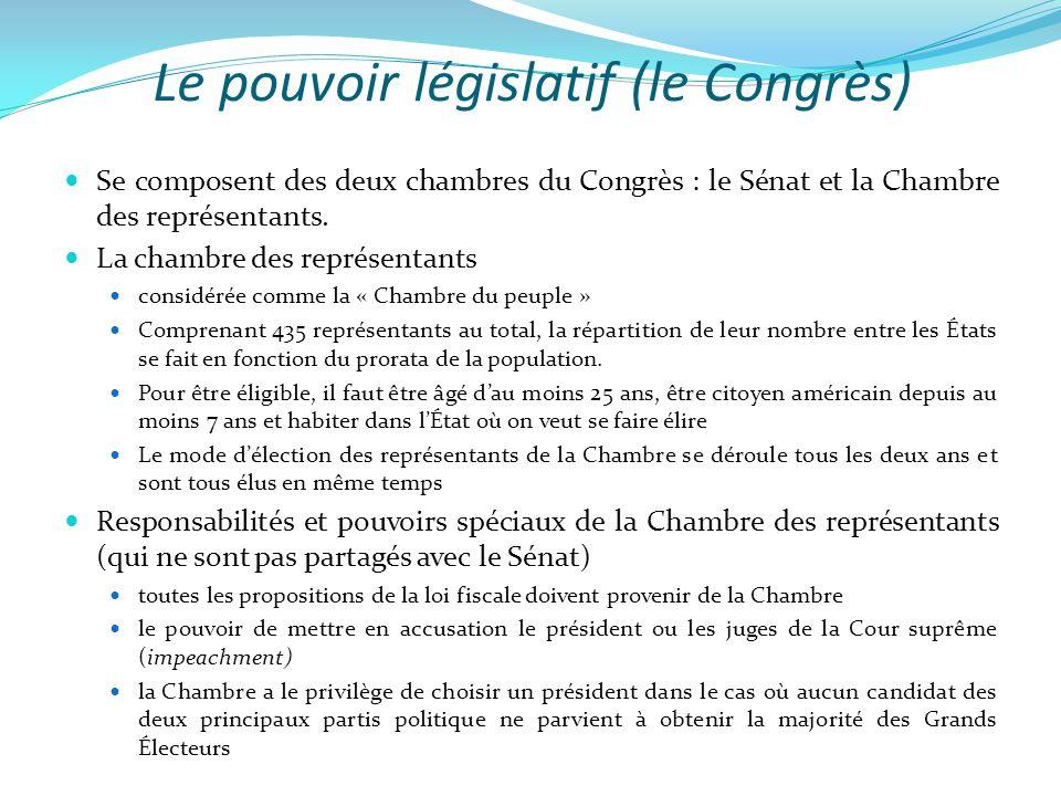 Le pouvoir législatif (le Congrès)  Se composent des deux chambres du Congrès : le Sénat et la Chambre des représentants.  La chambre des représenta