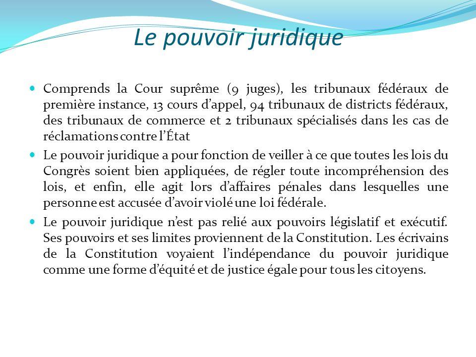 Le pouvoir juridique  Comprends la Cour suprême (9 juges), les tribunaux fédéraux de première instance, 13 cours d'appel, 94 tribunaux de districts f