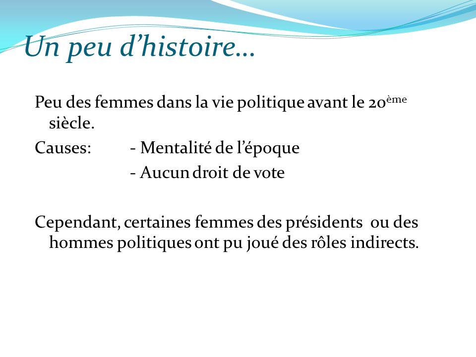 Un peu d'histoire… Peu des femmes dans la vie politique avant le 20 ème siècle. Causes: - Mentalité de l'époque - Aucun droit de vote Cependant, certa