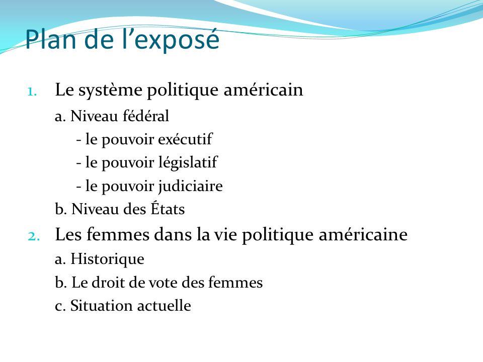 Plan de l'exposé 1. Le système politique américain a. Niveau fédéral - le pouvoir exécutif - le pouvoir législatif - le pouvoir judiciaire b. Niveau d