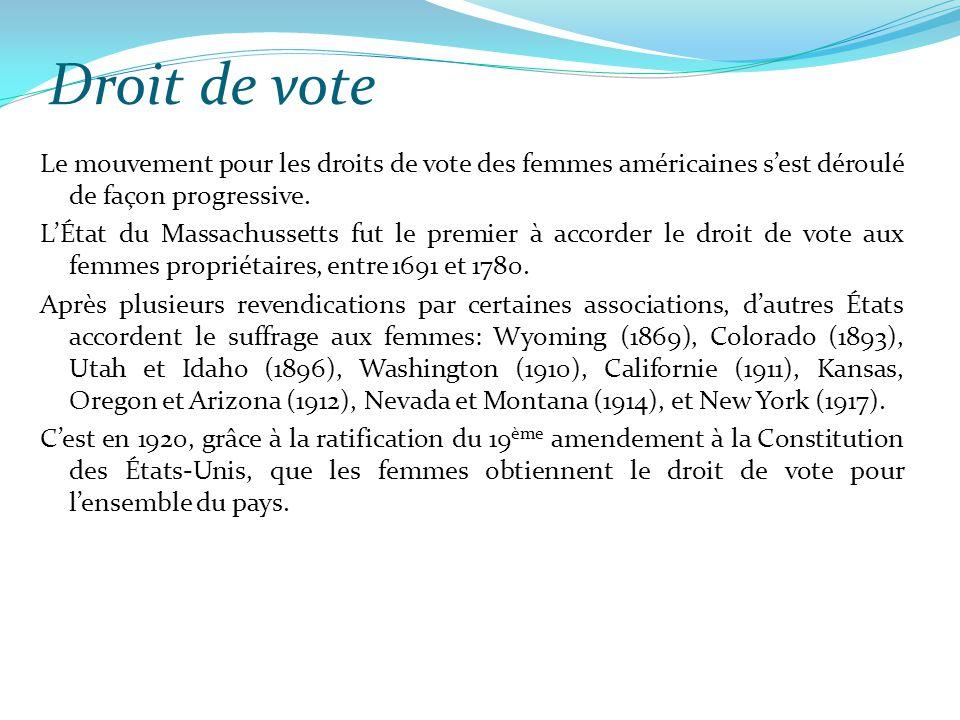 Droit de vote Le mouvement pour les droits de vote des femmes américaines s'est déroulé de façon progressive. L'État du Massachussetts fut le premier