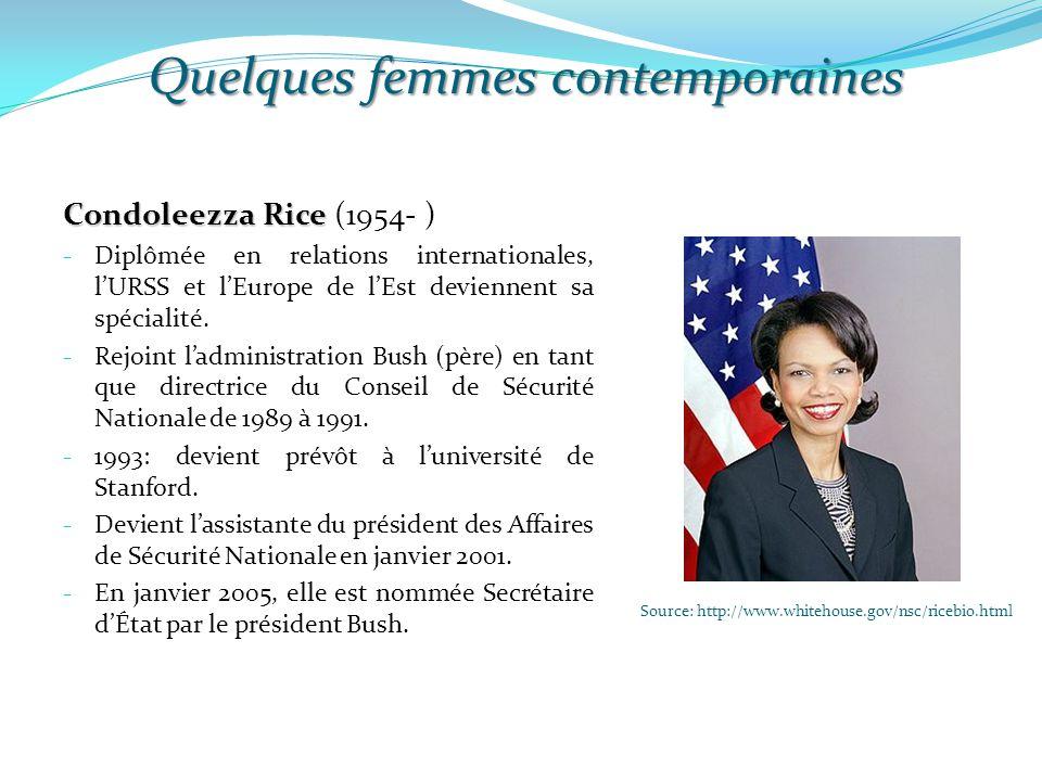 Quelques femmes contemporaines Source: http://www.whitehouse.gov/nsc/ricebio.html Condoleezza Rice Condoleezza Rice (1954- ) - Diplômée en relations i