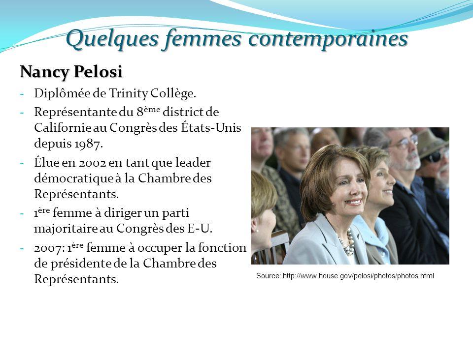Quelques femmes contemporaines Nancy Pelosi - Diplômée de Trinity Collège. - Représentante du 8 ème district de Californie au Congrès des États-Unis d