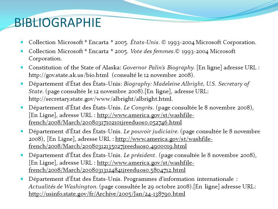 BIBLIOGRAPHIE  Collection Microsoft ® Encarta ® 2005. États-Unis. © 1993-2004 Microsoft Corporation.  Collection Microsoft ® Encarta ® 2005. Vote de