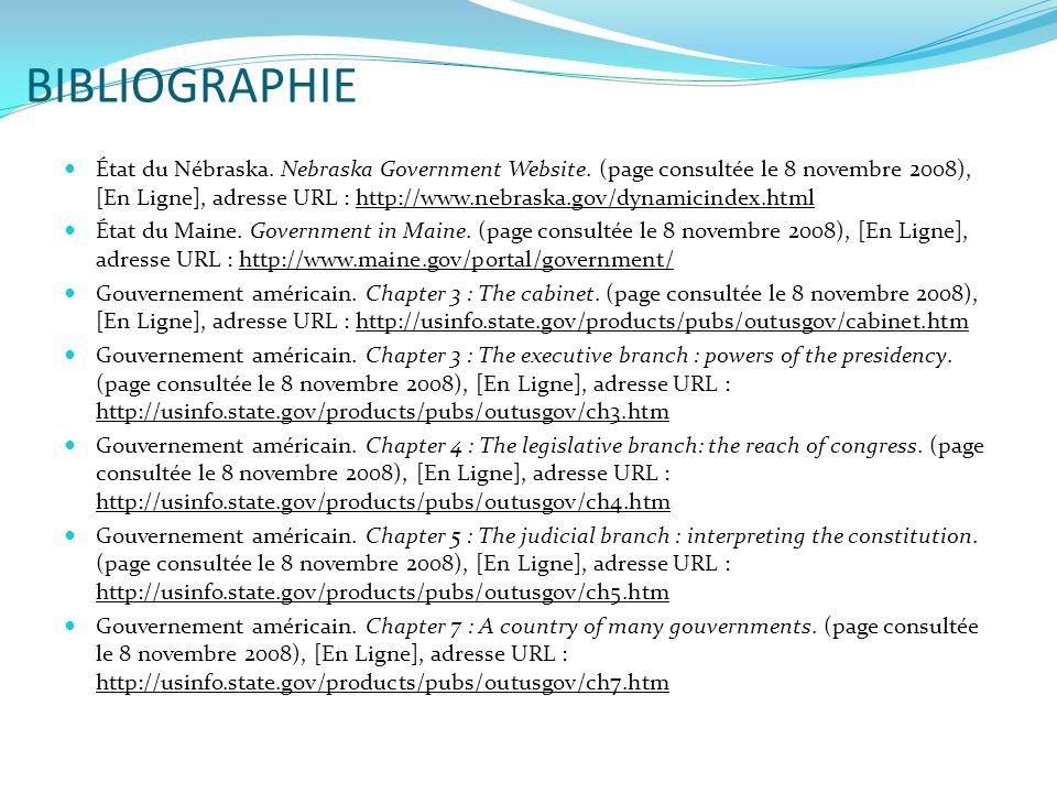 BIBLIOGRAPHIE  État du Nébraska. Nebraska Government Website. (page consultée le 8 novembre 2008), [En Ligne], adresse URL : http://www.nebraska.gov/