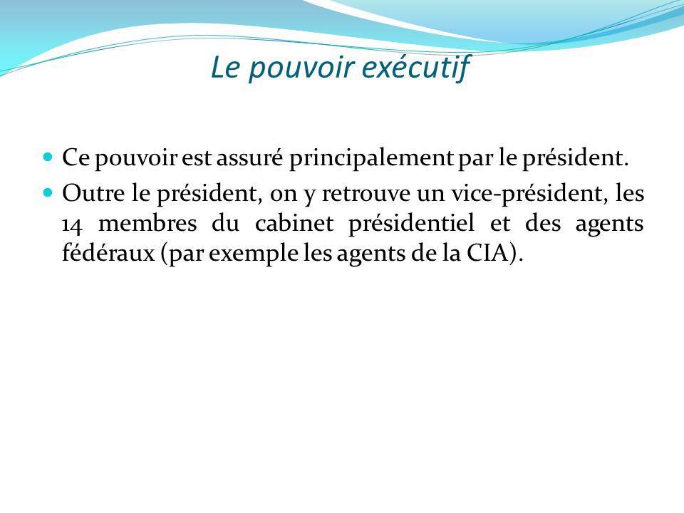 Le pouvoir exécutif  Ce pouvoir est assuré principalement par le président.  Outre le président, on y retrouve un vice-président, les 14 membres du