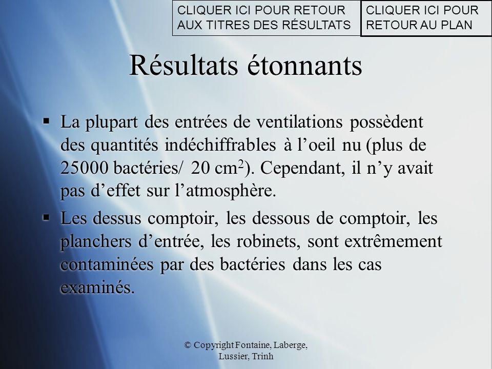 © Copyright Fontaine, Laberge, Lussier, Trinh Résultats étonnants  La plupart des entrées de ventilations possèdent des quantités indéchiffrables à l
