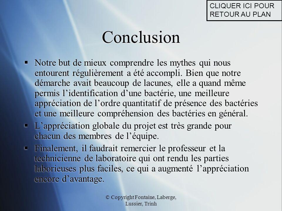 © Copyright Fontaine, Laberge, Lussier, Trinh Conclusion  Notre but de mieux comprendre les mythes qui nous entourent régulièrement a été accompli. B