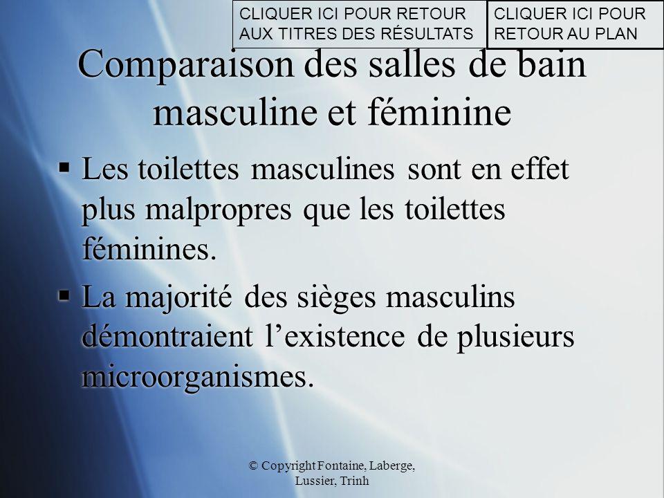 © Copyright Fontaine, Laberge, Lussier, Trinh Comparaison des salles de bain masculine et féminine  Les toilettes masculines sont en effet plus malpr