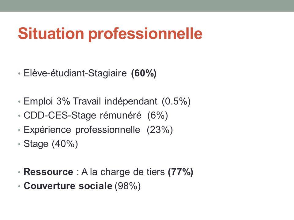 Situation professionnelle • Elève-étudiant-Stagiaire (60%) • Emploi 3% Travail indépendant (0.5%) • CDD-CES-Stage rémunéré (6%) • Expérience professio
