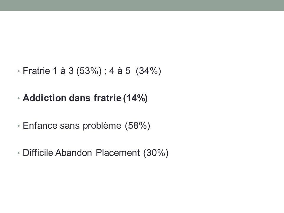 • Fratrie 1 à 3 (53%) ; 4 à 5 (34%) • Addiction dans fratrie (14%) • Enfance sans problème (58%) • Difficile Abandon Placement (30%)