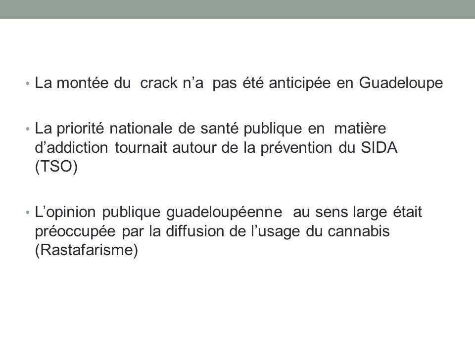 • La montée du crack n'a pas été anticipée en Guadeloupe • La priorité nationale de santé publique en matière d'addiction tournait autour de la préven