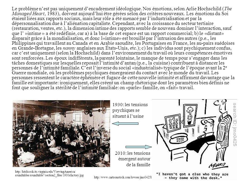 Le problème n'est pas uniquement d'encadrement idéologique. Nos émotions, selon Arlie Hochschild (The Managed Heart, 1983), doivent aujourd'hui être g