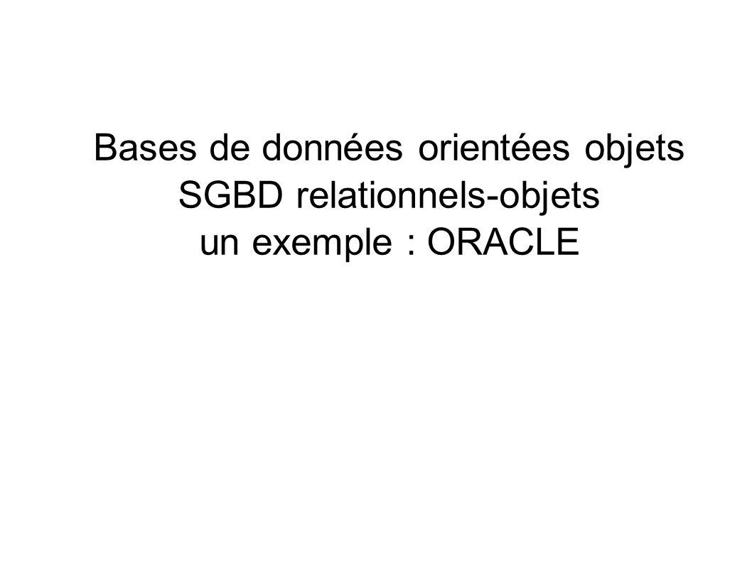 Bases de données orientées objets SGBD relationnels-objets un exemple : ORACLE
