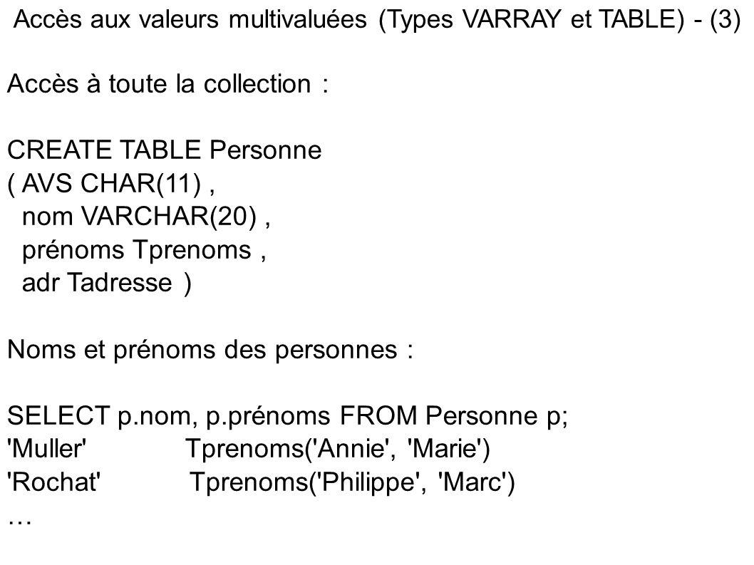 Accès aux valeurs multivaluées (Types VARRAY et TABLE) - (3) Accès à toute la collection : CREATE TABLE Personne ( AVS CHAR(11), nom VARCHAR(20), prénoms Tprenoms, adr Tadresse ) Noms et prénoms des personnes : SELECT p.nom, p.prénoms FROM Personne p; Muller Tprenoms( Annie , Marie ) Rochat Tprenoms( Philippe , Marc ) …
