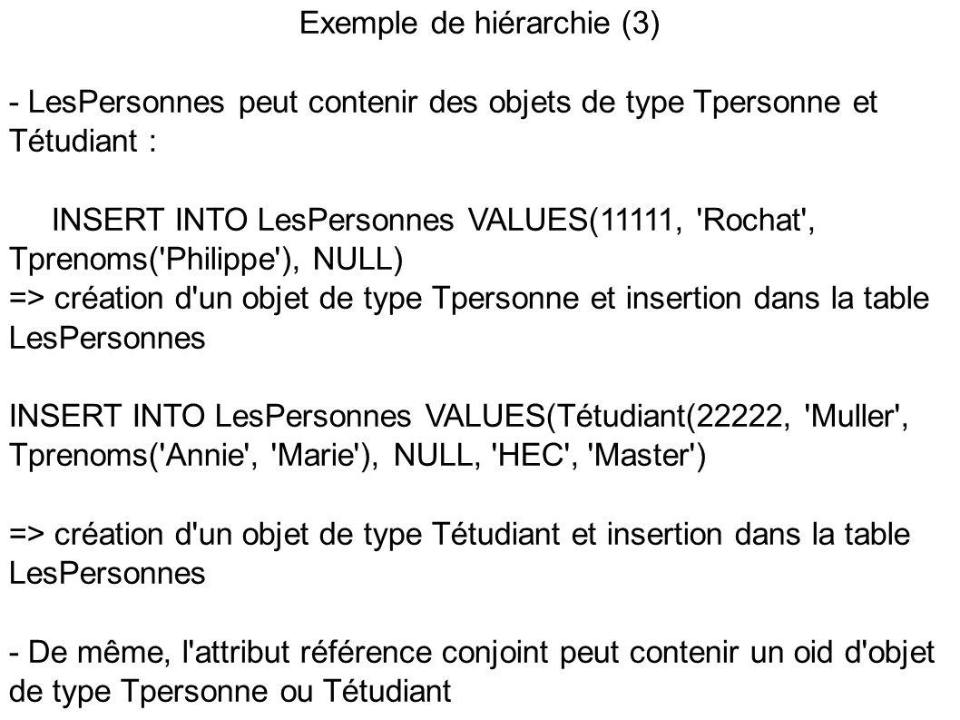Exemple de hiérarchie (3) - LesPersonnes peut contenir des objets de type Tpersonne et Tétudiant : INSERT INTO LesPersonnes VALUES(11111, Rochat , Tprenoms( Philippe ), NULL) => création d un objet de type Tpersonne et insertion dans la table LesPersonnes INSERT INTO LesPersonnes VALUES(Tétudiant(22222, Muller , Tprenoms( Annie , Marie ), NULL, HEC , Master ) => création d un objet de type Tétudiant et insertion dans la table LesPersonnes - De même, l attribut référence conjoint peut contenir un oid d objet de type Tpersonne ou Tétudiant