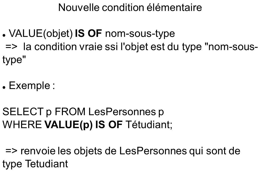 Nouvelle condition élémentaire  VALUE(objet) IS OF nom-sous-type => la condition vraie ssi l objet est du type nom-sous- type  Exemple : SELECT p FROM LesPersonnes p WHERE VALUE(p) IS OF Tétudiant; => renvoie les objets de LesPersonnes qui sont de type Tetudiant
