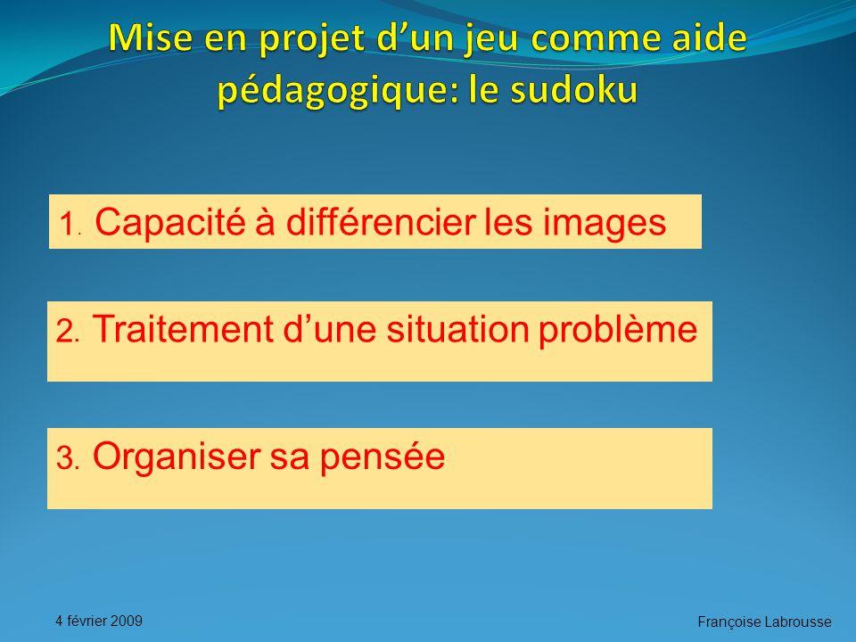 Françoise Labrousse 4 février 2009 1. Capacité à différencier les images 2.