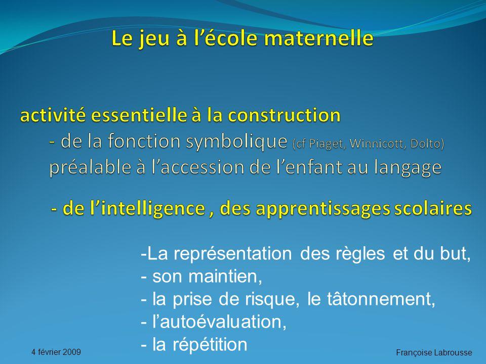 Françoise Labrousse 4 février 2009 -La représentation des règles et du but, - son maintien, - la prise de risque, le tâtonnement, - l'autoévaluation, - la répétition