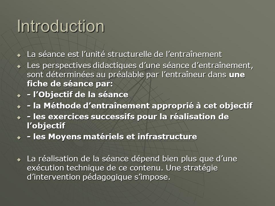 Introduction  La séance est l'unité structurelle de l'entraînement  Les perspectives didactiques d'une séance d'entraînement, sont déterminées au pr