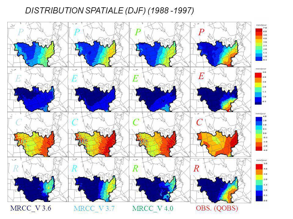 DISTRIBUTION SPATIALE (DJF) (1988 -1997) OBS. (QOBS)MRCC_V 3.6 MRCC_V 3.7MRCC_V 4.0 PPPP EEE E CCCC RRRR