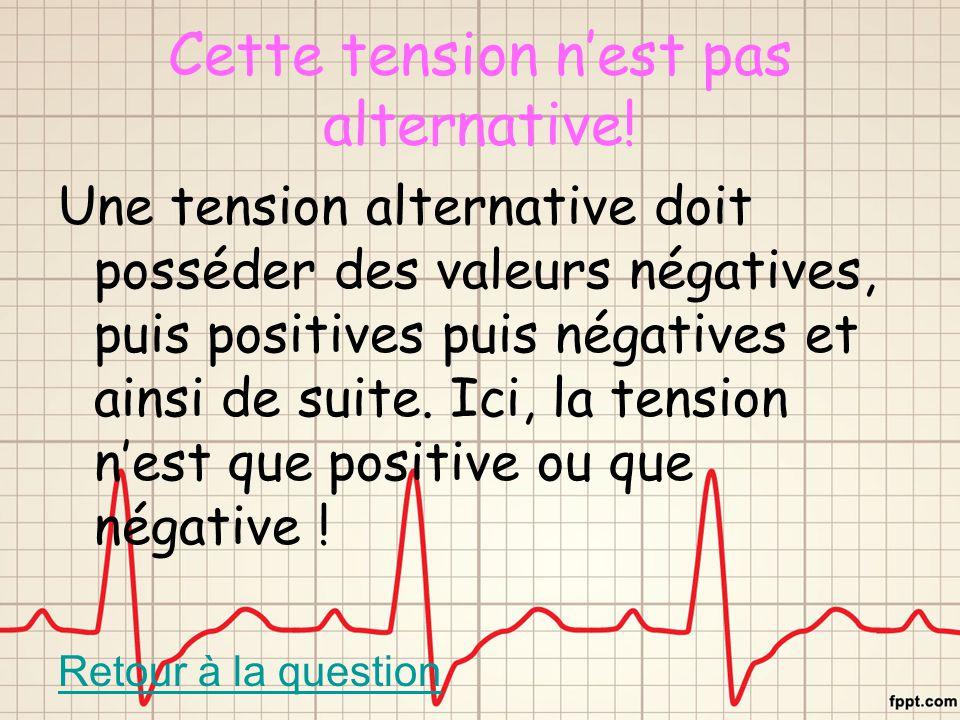 Cette tension n'est pas alternative! Une tension alternative doit posséder des valeurs négatives, puis positives puis négatives et ainsi de suite. Ici