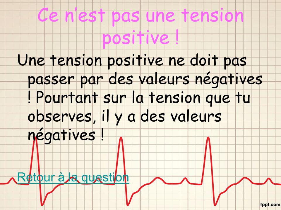 Ce n'est pas une tension positive ! Une tension positive ne doit pas passer par des valeurs négatives ! Pourtant sur la tension que tu observes, il y
