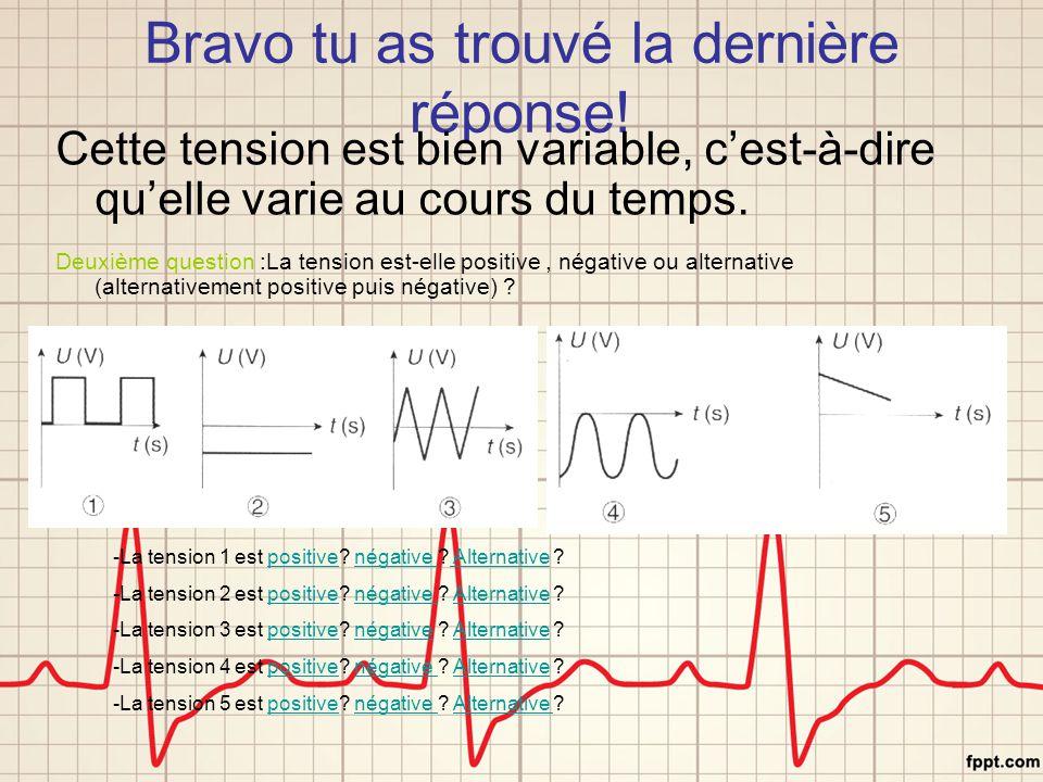 Bravo tu as trouvé la dernière réponse! Cette tension est bien variable, c'est-à-dire qu'elle varie au cours du temps. Deuxième question :La tension e