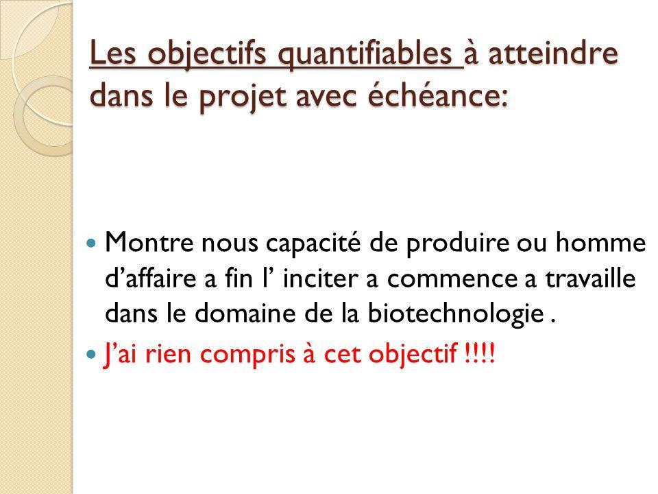 Les objectifs quantifiables à atteindre dans le projet avec échéance:  Montre nous capacité de produire ou homme d'affaire a fin l' inciter a commence a travaille dans le domaine de la biotechnologie.